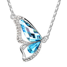 N176 Austrian Crystal Butterfly Necklace Women <strong>Silver</strong> And 18K Gold Plated Jewelry Fashion Necklaces Pendants 2017 Latest Design
