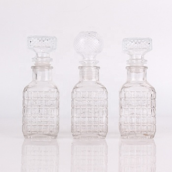 120ml square glass bottle with glass cork for wine crystal