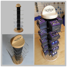 Custom mdf with white oak veneer&acrylic revolving cufflink display shelf/stand/rack with low price