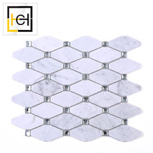 White Polished Long Octagon Marble Mosaic Bathroom Tile