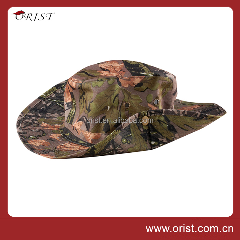 Customized Classic Broad brim Outdoor Camouflage cowboy hat