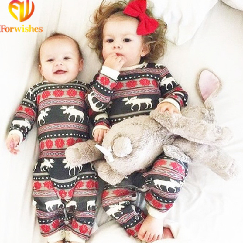 Ins Factory Comfortable Christmas Baby Pajamas Reindeer Organic Cotton Jumpsuit Toddler Rompers