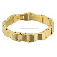 SOQ Latest New Designs Stainless Steel Men Jewelry Gold Fashion Bracelet