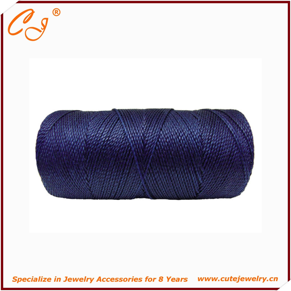 Tai Wan 3-strand Macrame Waxed Polyester braid thread For bracelet Navy Blue