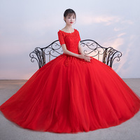 ZHF295 Sexy Short Sleeves Red Lace Crystal Puffy Bridal Ball Gown Wedding Dresses