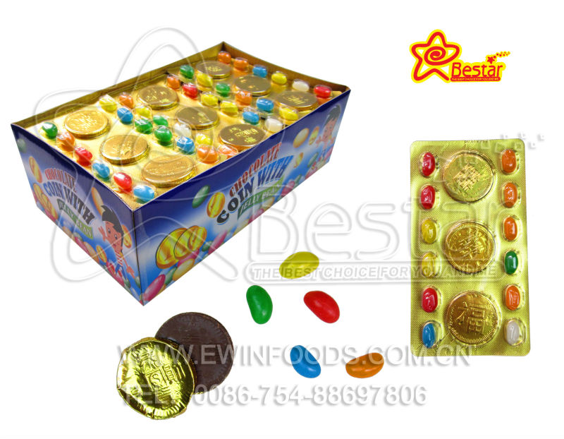 Chocolate golden coin with jelly bean