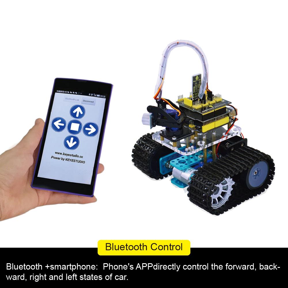 KEYESTUDIO Mini Tank Robot for Arduino DIY Smart Car Kit with Uno R3 Board...