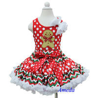 Christmas Red Polka Dots Chevron Pettiskirt Plus Gingerbread Man Tank Top 1-7Y