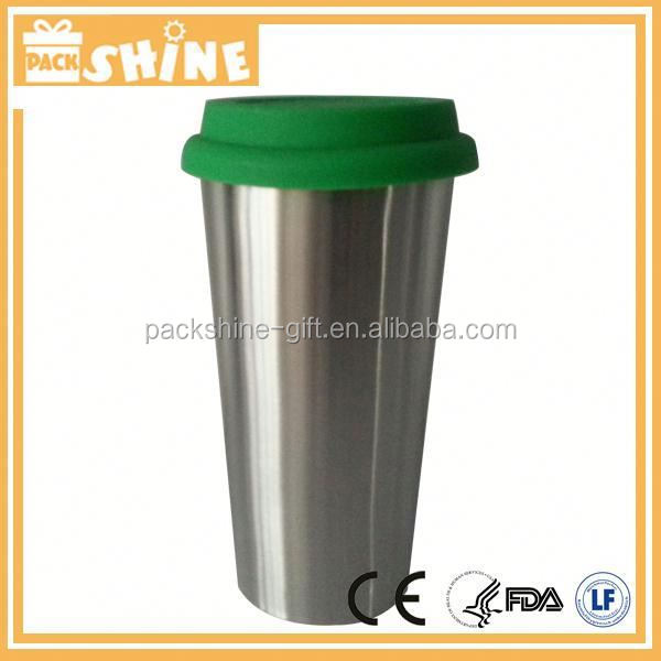 cream-colored coffee mug with Silicone lid and 16oz capacity