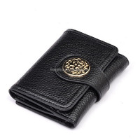 Personalised Black Leather Trifold Wallet for Ladies / Girls / Women