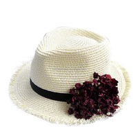 Sunscreen Knitting Flower Fedora and Panama Straw Hat Fringe For Ladies