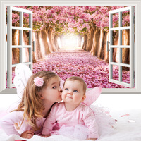 Removable custom creative PVC bedroom warm home wallpapers 3D home decoration fake window wall sticker