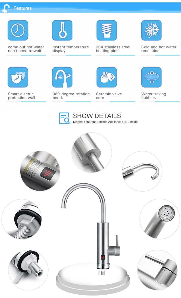 New Design Display Electric High Quality Plastic Digital Instant Water Heater Faucet