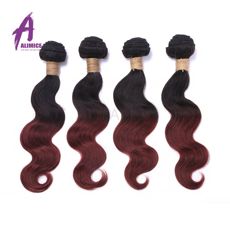 Wholesale Vendor alibaba express brazilian human hair weave, Long lasting Unprocessed Raw Ombre Virgin Human hair bundles 99J