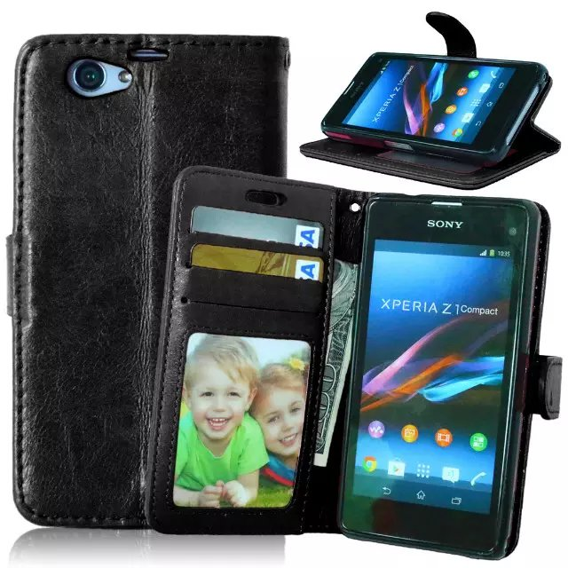 For Sony Xperia Z1 Compact Magnetic Flip PU Leather Wallet Case with Photo Frame Card Holder Stand fundas Mobile Phone Cover