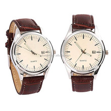 Mens Fashion Leather Stainless Steel Quartz Analog Waterproof Vogue Lady Watch