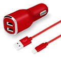 Car charger kit- 24W Dual USB car charger with 6ft nylon braided MFI certified charging cable
