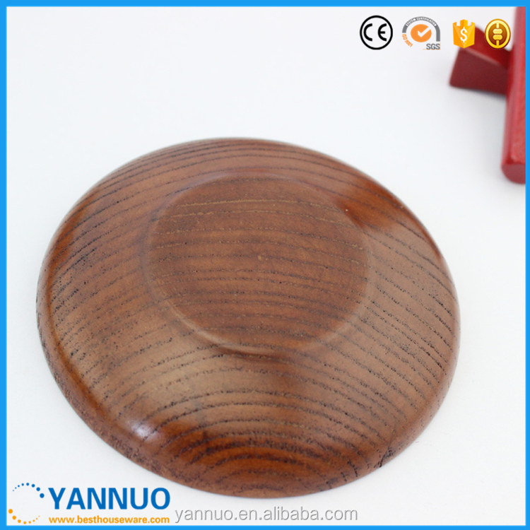 Japanese Style Dessert Plate,Wooden Sushi Dish,Round Wood Dry Fruit Plate, 10cm
