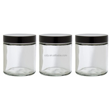 Clear Thick Glass Straight Sided Jar - 4 oz / 120 ml (3 pack)