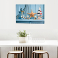 Beautiful Ocean style with Starfish LED Candle Light Canvas Painting for Living Room /Hotel /Bar Wall Decoration