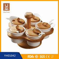 Storage Boxes & Bins Type ceramic salt container / sugar box with bamboo