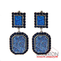 Noble Blue Gem And Rhinestone Inlaid Pendant Earring D22433-4200