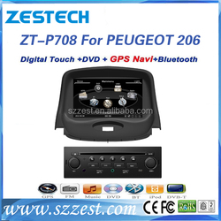 High quality car audio system for peugeot 206 multimedia navigation system GPS with BT phonebook SWC
