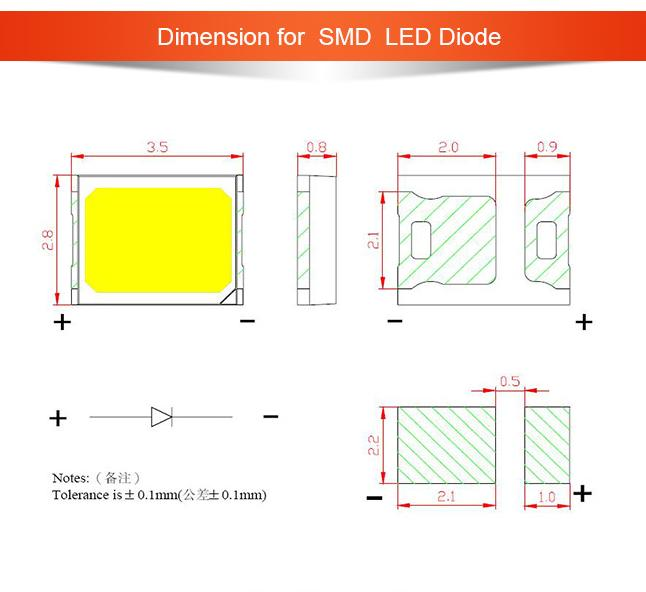 PLCC2 2835 SMD LED  display led chip for lamps PLCC2835-W6-0.4W