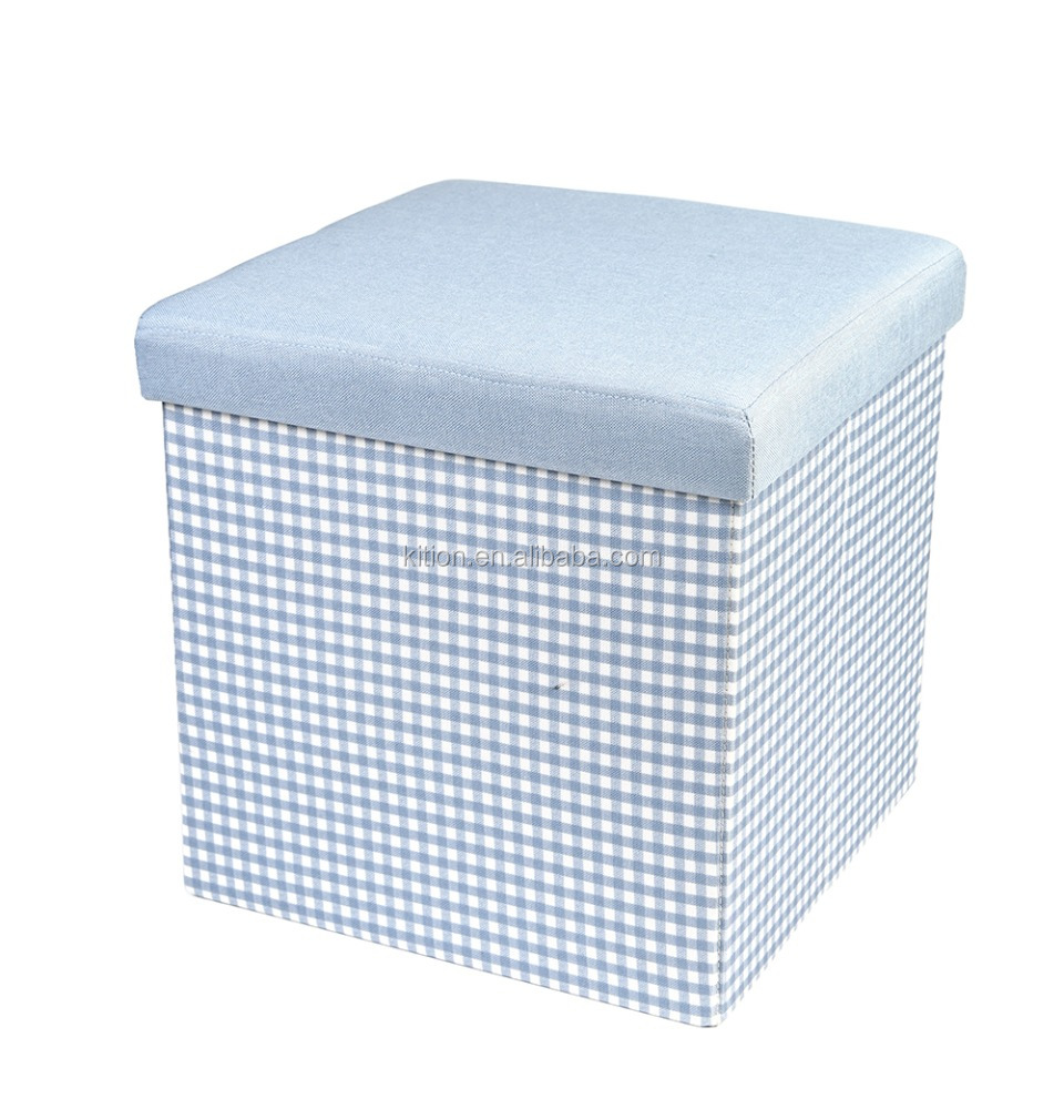 Square polyester foldable folding storage ottoman with lid