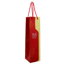 Wholesale Recyclable Shopping Use custom design made full color laminated Popular Wine gift paper bag with logo print