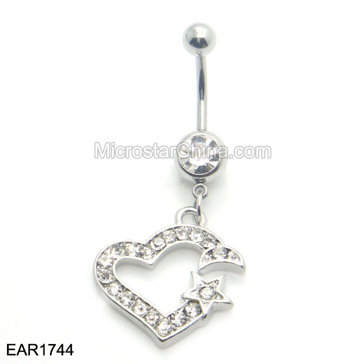 Belly Button Ring Barbell Star Crystal Heart Navel Piercings