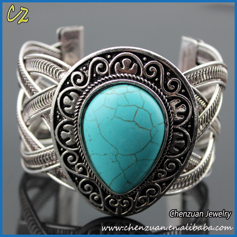 2017 Turquoise series jewelry teardorp turquoise bracelet, antique silver plated turquoise magnetic bracelet