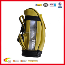2015 custom golf ball bag,yellow leather mini thee pieces ball bag,wholesale hook up ball sports bag
