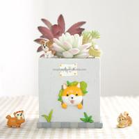 Roogo home 2017 Lovely Japanese Akita Dog Pet Shaped Plant Decor Succulent Plants Decorative Flower Pot