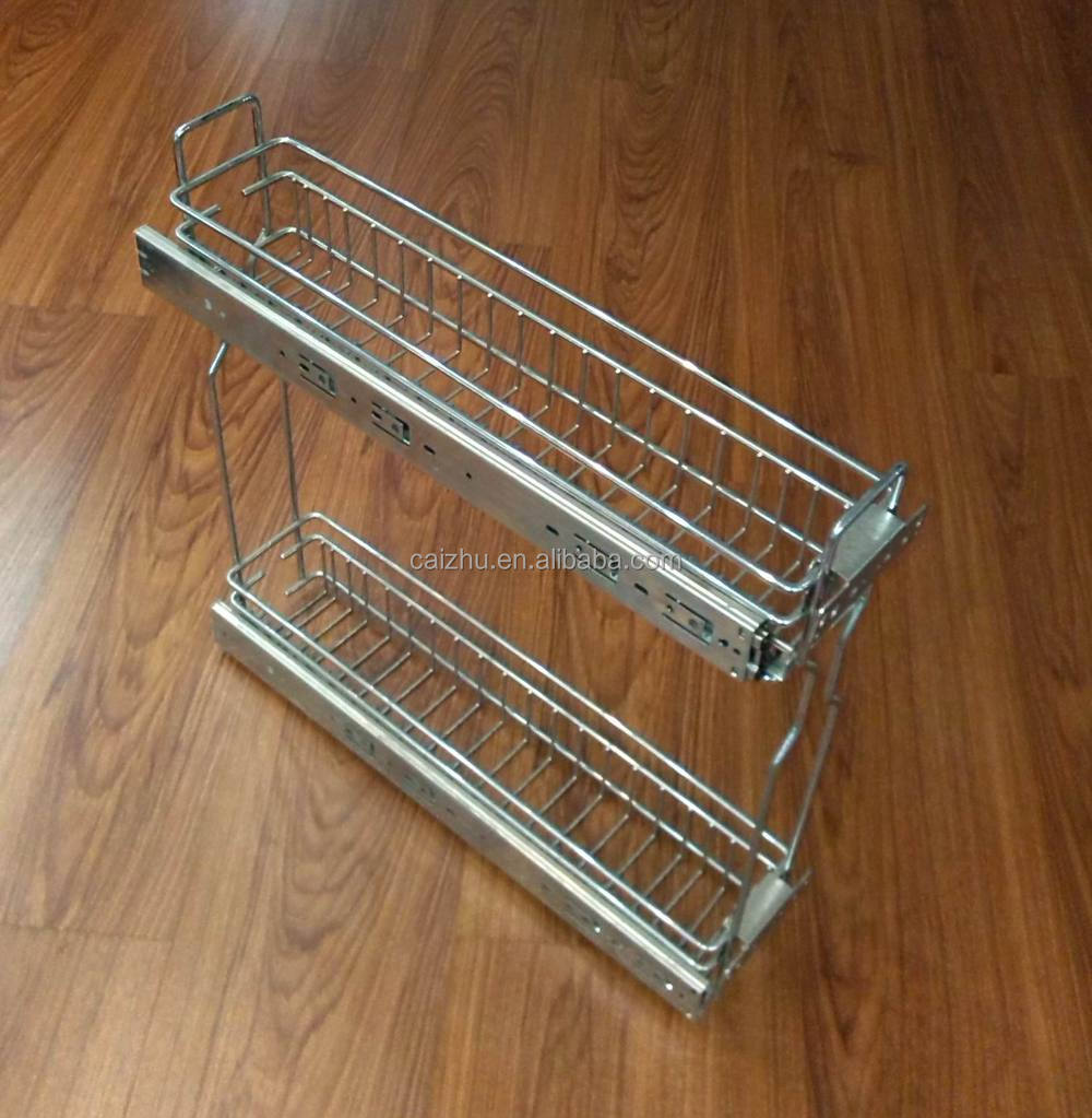 Kitchen cabinet drawer kitchen pull out basket organizer for Kitchen colors with white cabinets with clip on candle holders
