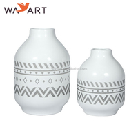 BSCI SEDEX Custom Design Decorative White Round Ceramic Vase