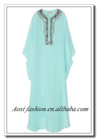 Batwing Sleeves Beaded light blue long party gown Muslim evening dress