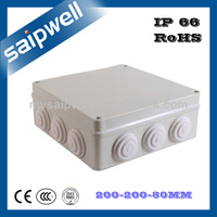 2013 New IP65 ABS plastic waterproof box with cable gland 200*200*80mm