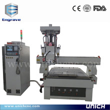UNICH new model ATC side milling three heads cnc router machine/cnc drilling machine