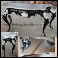 Antoinette Louis XV Hall Table silver and black color modern console table