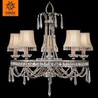 Classical white fabric Meria Theresa Crystal iron wedding decoration chandelier