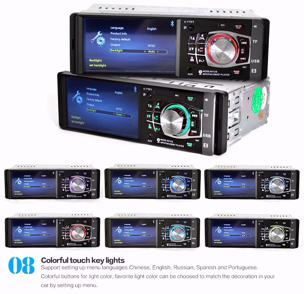1 Din Car Radio Auto Audio Stereo 4.1 inch MP4 MP5 Player Multimedia Audio Video Support Rear View Camera USB FM Bluetooth