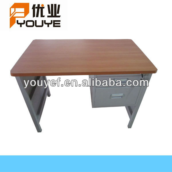 Simple design wooden top steel office desk with drawers