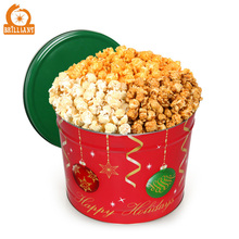 Xmas Gift Tin Can Round Metal Tin Box for Popcorn Cookie Biscuits