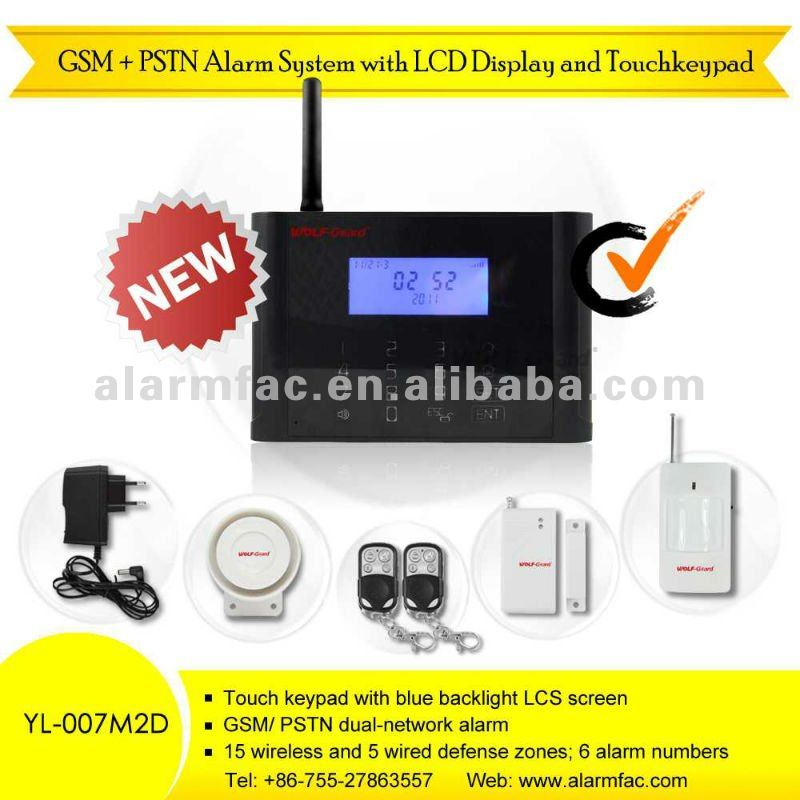 LED gsm and pstn double network fire alarm system with 99 zones