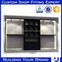 Factory Price Customized Design Wood Clothing Shelf For Men's Store