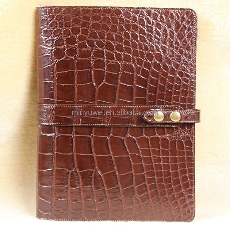Fashion brown crocodile leather business meeting portfolios with front diagonal pocket