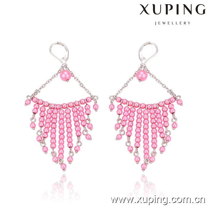 29610 XUPING indian style pink beads dangling earring for women,funky beaded tassel earrings for college girls
