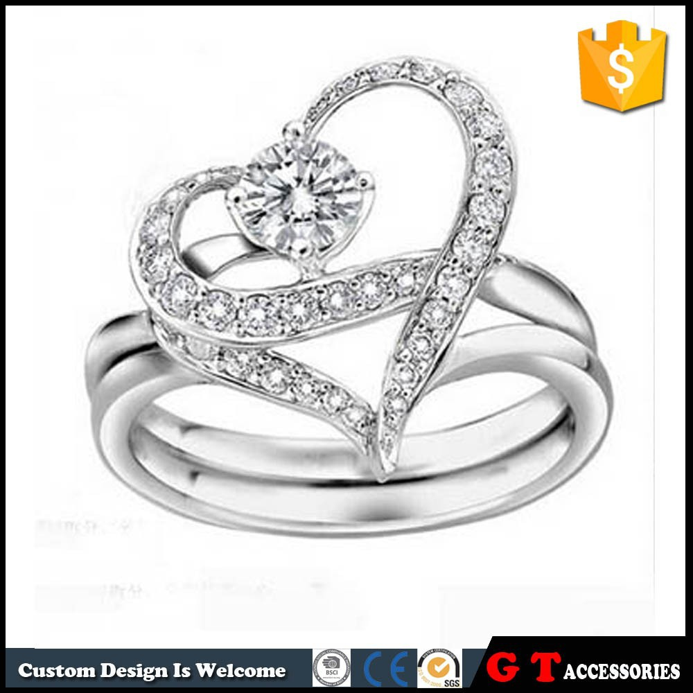 Hot Selling High Quality Lovers Detachable Rhinestone Ring Heart Shape, Silver Ring Design