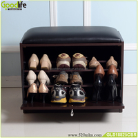 Foshan factory wooden shoe rack storage bench hot selling on Europe